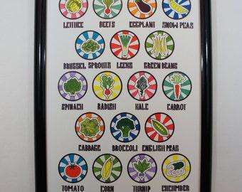 Vegetable Art Print; Modern Art Print, Bold Colors, Kitchen Art, Pop Art, Graphic Art