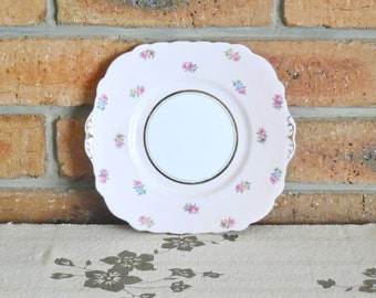 1930s Colclough fine bone china cake plate pale pink border with pretty spring roses