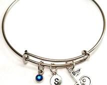 18th Hole Bangle Bracelet, Adjustable Expandable Bangle Bracelet, Golf Mom Charm, Golf Mom Pendant, Golf Jewelry, Golf Bangle, Golf Gifts