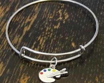 Paint Palette Bangle Bracelet, Adjustable Expandable Bangle Bracelet, Paint Palette Charm, Paint Palette Pendant, Artist Bracelet, Painter