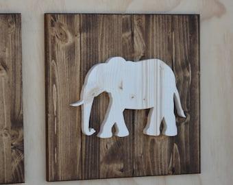 "Elephant Wood Safari Animal Plaque Cutout 13"""