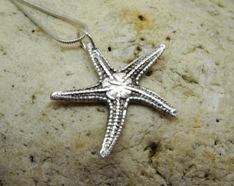 Starfish pendant, silver starfish necklace, sea star, sand dollar, summer jewellery,  beach wedding, gift for partner,