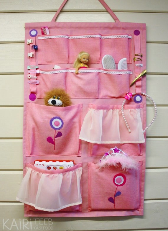 Items similar to Wall organizer pink girls room hanging