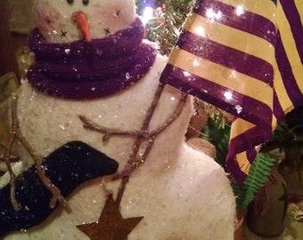 Primitive Handmade Patriotic Christmas Snowman