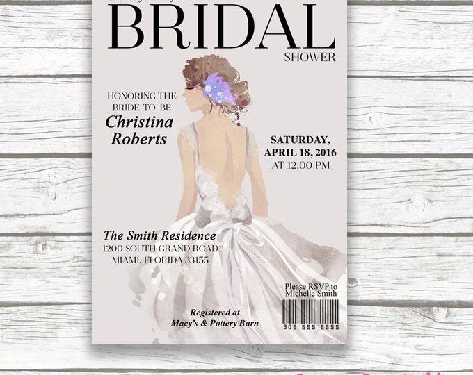 Couture Bridal Shower Invitation, Fashion Magazine Invite, Watercolor Bride Illustration, Gray Classic, Wedding Dress, Printed or Printable