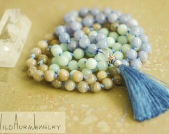 108 Mala - Hand Knotted - Necklace - Gemstone - Healing - Reiki - Chakra - Balance - Meditation - Yoga - Boho - Zen - Jewelry