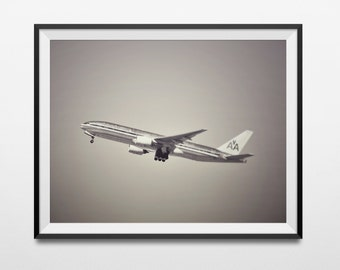 Aviation Decor, American Airlines Photo Print, Aircraft Wall Decor, Tintype Brown, Airplane Wall Decor, Boeing 737 Aircraft, Captain Gift