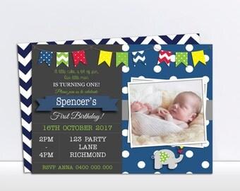 Elephant Invitation - 1st Birthday Invitation - Printable Elephant Invitation - Boys Invitation - Boys Birthday Invitation - Personalized