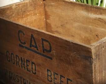 Vintage wooden corned beef shipping crate
