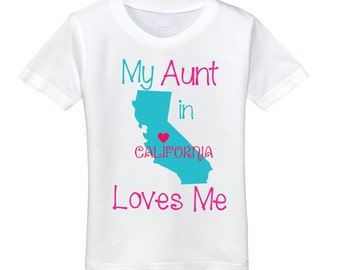 Custom Kids shirt My Aunt Loves Me from many states Kids tshirts toddler tshirts aunt tshirt aunt shirt kid clothes kids shirt niece tee