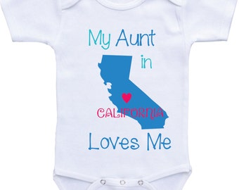 My Aunt Loves Me Onesie baby boy available in Different States-Aunt Onesies Auntie shirt/ I love my Aunt for baby boy Aunt baby shirt