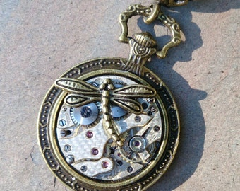steampunk watch movement dragonfly pendant