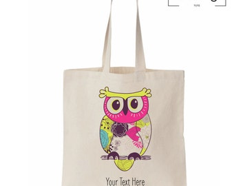 Owl 3 - Tote Bag with Custom Text - Grocery, Market, Library, Gift Tote Bag