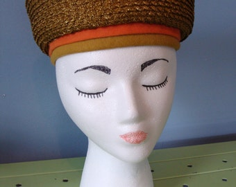 Vintage Hat Woven Pillbox Turban Rust Yellow Orange Felt Details Bow 60's Jan Leslie Custom Design Mod Retro Chic Fun 1960's Unique