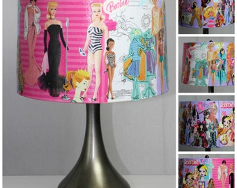 Barbie Collage Large Drum Lamp Shade, Handmade, Spider Fixture, Functional Piece of Art, Amazing Gift