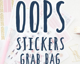 Oops Grab Bag - 5 random misfit sticker sheets - matte and glossy planner stickers