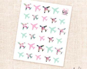 Airplane stickers - 29 traveling planner stickers / floral, mint, pink