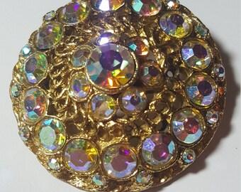 Vintage Large Arora Borealis rhinestone pin brooch