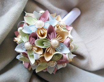 Paper bouquet, wedding bouquet, kusudama flowers, paper flowers, pastel bouquet, custom bridal bouquet, origami flowers, pastel colors