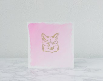 Pink and Gold Fox Watercolor Painting