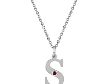 initial s pendant with personalized birthstone in stainless steel initial s necklace birthstone letter s necklace initial charm necklace