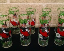Tom Collins Iced Tea Glasses with Horseless Carriage - Tall Libbey Glasses - Set of 8 -Vintage