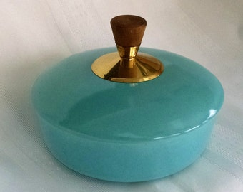 Turquoise Covered Dish/Bowl with Wood and Metal Knob -Unmarked - Vintage