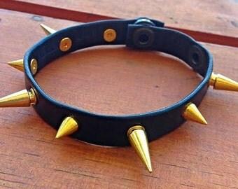 Black Genuine Soft Leather Gold Spiked Bracelet