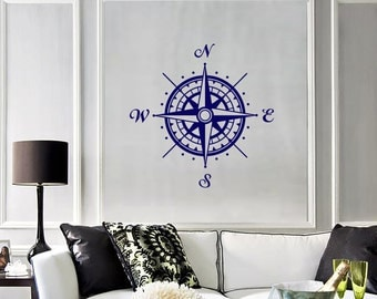 Wall Vinyl Decal Compass Nautical Marine Science Traveling Cool Abstract Modern Home Decor (#1118de)