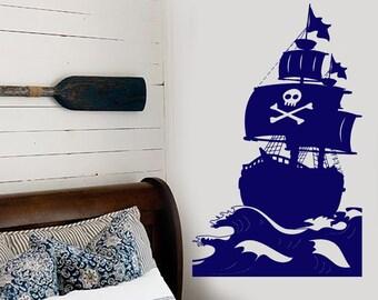 Wall Vinyl Decal Sea Pirate Sail Ship Boat Yacht Clipper Brigantine Nautical Beach House Modern Home Decor (#1210dz)