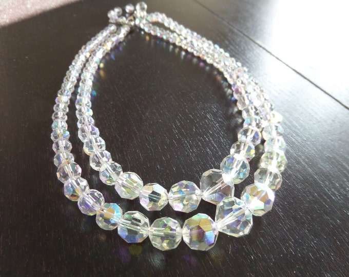 FREE SHIPPING Aurora Borealis Necklace, Faceted Crystal Beads, Double Strander, Irridescent Rainbow Effect, 1950's, Excellent Condition