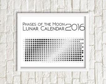Moon calendar, La luna,  printable lunar calendar 2016, Moon Phases poster, moon phases calendar, lunar 2016 wall calendar, la luna art