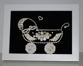 Vintage Framed Jewelry Art Baby Carriage