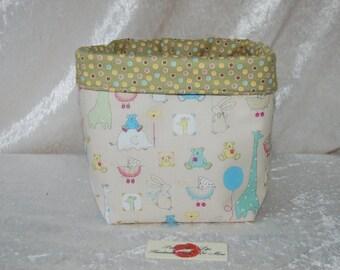 Fabric basket tall  reversible organiser bin storage. Handmade in England