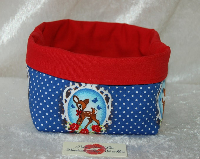 Bambi Deer Fabric basket short reversible organiser bin storage. Handmade in England