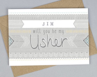 Will you be my usher card, personalised usher card, will you be my card, groomsman card