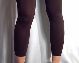 Thin Shiny spandex footless stockings Leg warmers dark brown