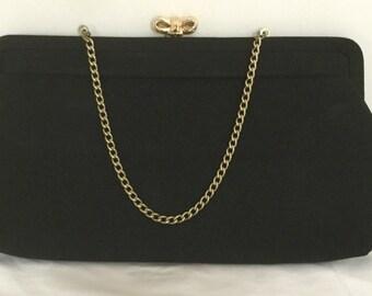Black Evening Bag - Vintage Black Clutch - Vintage Clutch Bag