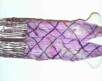 Silk Scarf Silk Shawl Women's Scarves Purple Plaid Scarf Nuno Felted Scarf Unique Handmade Clothing Felt Shawl Felted Silk Wrap Gift for Her