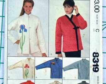 McCalls 8319 Sewing Pattern Unlined Jacket Asian Style Applique Stand Up Mandarin Collar Frog Ribbon Tie Closure Size 14 16 Bust 36 38 UNCUT