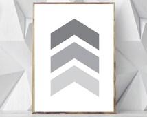 Nordic Wall Print, Geometric Art, Instant Download Printable Art, Scandinavian Wall Print, Minimalist Geometric Wall Art, Gray Chevron