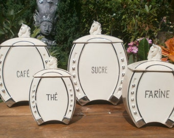 Shabby Vintage 4 Spice Jars Art Deco - 4 jars to spice Deco