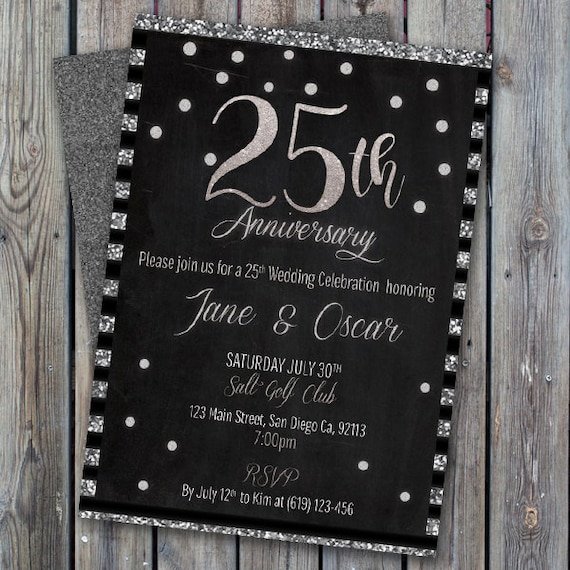 Printable 25th Wedding Anniversary Invitation Silver Wedding