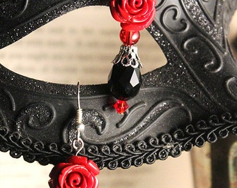 Gothic Red Roses & Black Crystals Earrings
