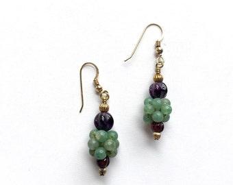 Vintage jewelry, handmade earrings, Jade earrings, gemstone earrings, dangle earrings, green earrings