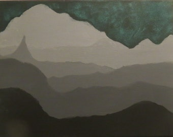 Black and Gray Mountain Scape