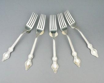Set of 5 large vintage forks. USSR forks. Russian antique fork.Antique Soviet silverware. Rococo fork.