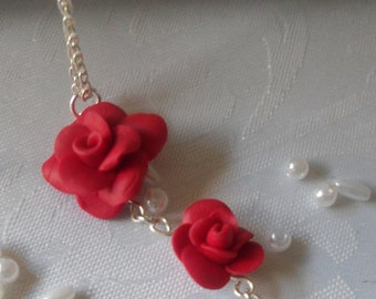 Polymer Clay Red Rose Pendant Necklace