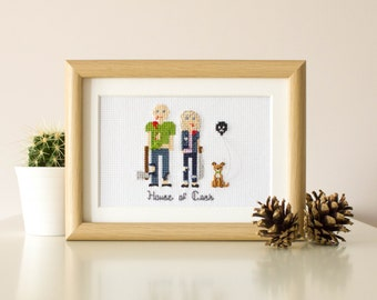 2 Adults And A Pet. Custom Cross Stitch, Cotton Anniversary Gift For Him , Gift for Couples, Housewarming Gift, Gift For Men