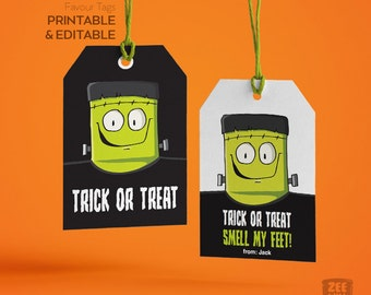 Halloween Favour Tags, Halloween Tags, Frankenstein, Monster, Halloween, Stickers, Gift Tags, Labels, Instant Download, Printable, ZWDH0054